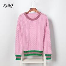 Pulôver feminino runway, pulôver de marca de designer de natal com pérolas, rosa, para outono e inverno, listrado, com botão de malha, de luxo 2020
