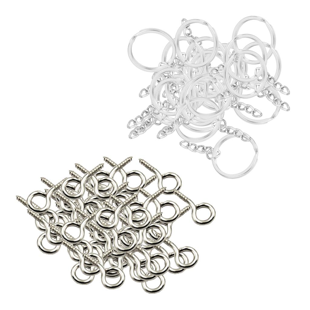 50pcs Metal Key Holder Split Rings Keyring Keychain + 50pcs Screw Eye Pins DIY Key Chains