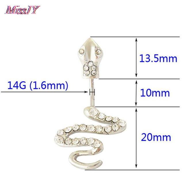 14G 316L surgical steel bar Nickel-free Retail Snake belly button ring fashion lizard lady body piercing navel belly jewelry 6