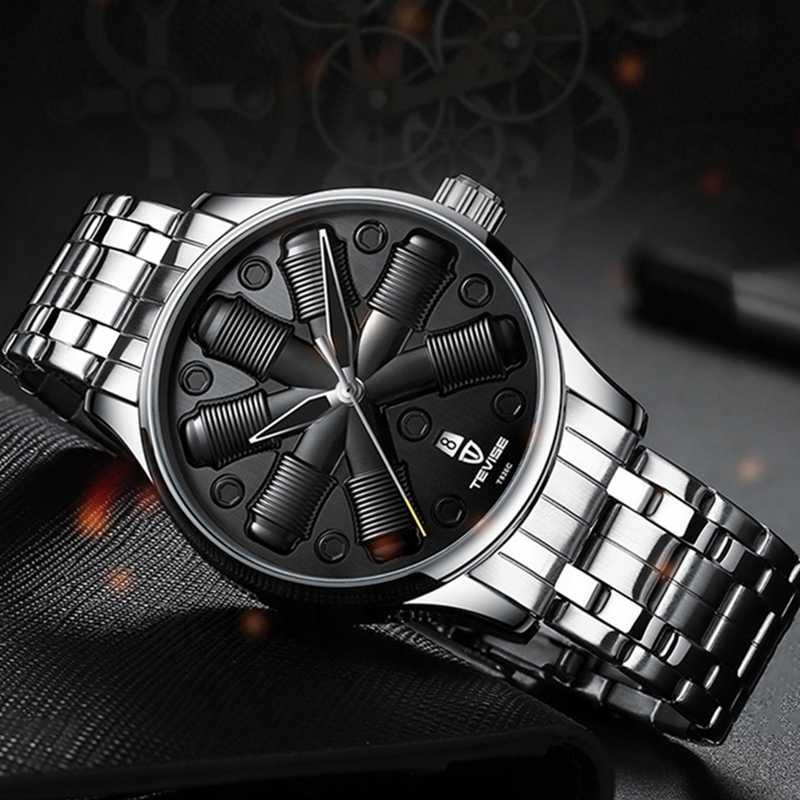 TEVISE tourmilliard mode Sport hommes automatique montre mécanique Unique montres créatives bracelet en cuir étanche calendrier horloge
