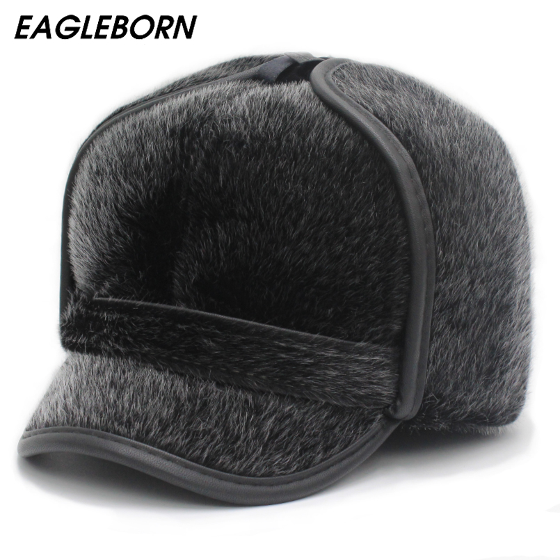 New Winter Men Russian <font><b>Hat</b></font> Faux <font><b>Fur</b></font> <font><b>Hat</b></font> Fashion <font><b>Fur</b></font> Dad <font><b>Hats</b></font> Ushanka <font><b>Bomber</b></font> <font><b>Hats</b></font> Ear Flap Thicken Winter Cap for Mens The Aged image