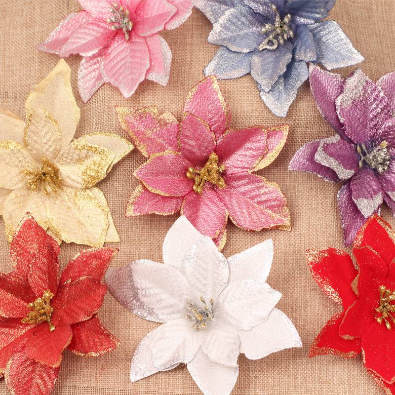 10Pcs Glitter Artificial Flowers Christmas Tree Decoration Merry Christmas Ornaments Christmas Decorations for Home 2020 Navidad