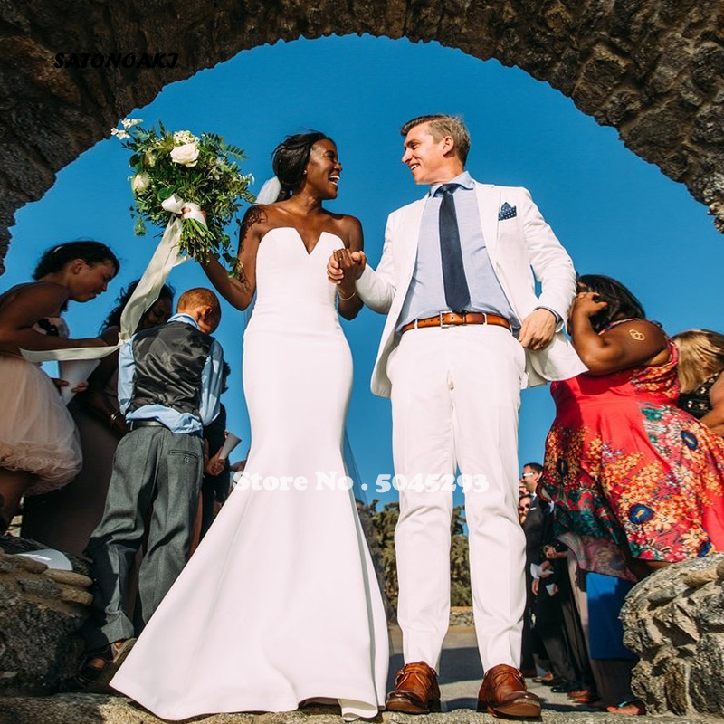 SATONOAKI 2020 White Simple Mermaid Wedding Dresses V-neck Lace Up Back Beach Wedding Gowns Bride Dresses vestidos de novia