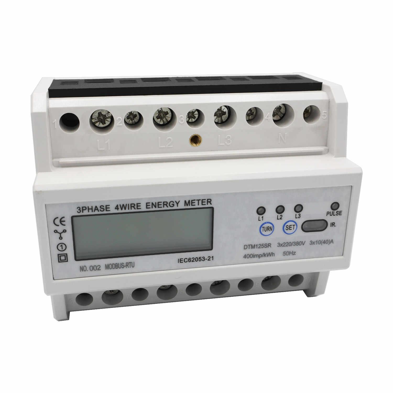 DTM125SR compteur d'énergie 3 phases 4 fils DIN-Rail compteur d'énergie RS485 MODBUS protocole AC220/380 V électronique KWh mètre wattmètre