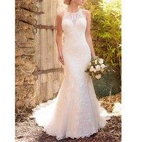 Mermaid Wedding Dresses Ivory Tulle Scoop Luxurury Appliques Dropped Court Train Full length Custom Made Vestido De Casamento