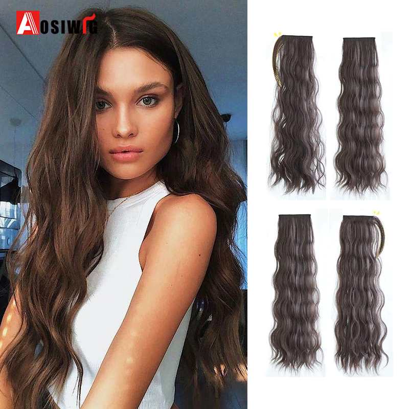 AOSIWIG Long Wavy Heat Resistant Synthetic Hair Extensions Clips in High Temperature Fiber Black Brown 6Pcs/Set Hairpiece