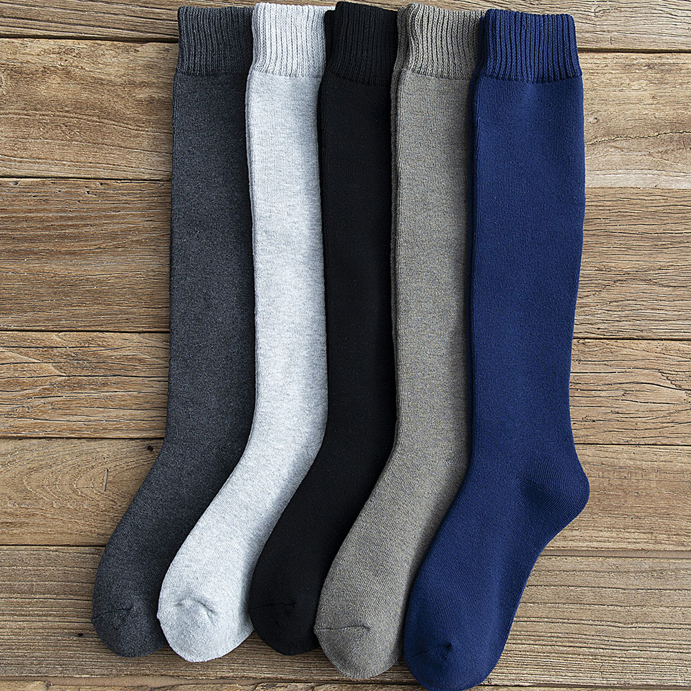 Winter Men's New High-grade Thick Warm Solid Color Wool Material Fashion Casual Calf Long Socks 3 Pair