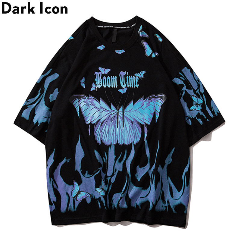 Dark Icon Flame Butterfly Street Fashon T-shirt Men 2020 Summer Crew Neck Men's Tshirt Hip Hop Tee Shirts