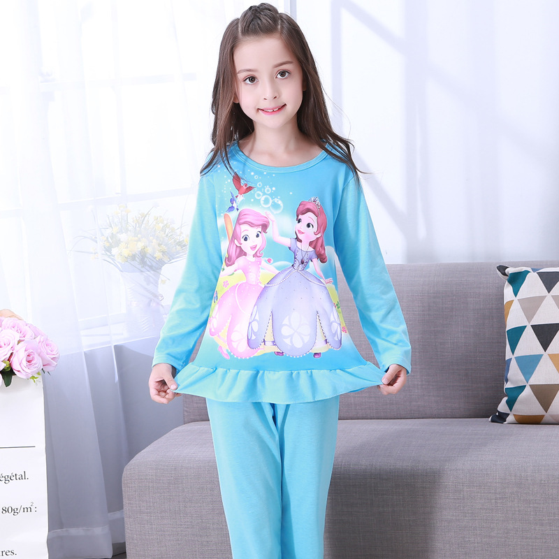 Autumn & Winter CHILDREN'S Lingerie Long Sleeve Knitted Cotton Cute Princess Girls' Pajamas Dress Baby Children Clothing Home Cl