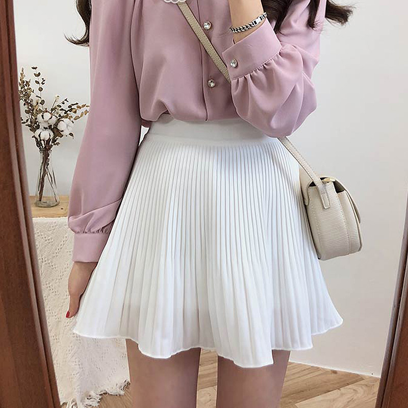 BOBOKATEER Summer White Pleated Skirt Women Clothes Jupe Femme Faldas Mujer Moda 2020 Black Sexy Skirts Womens Clothing Spodnica