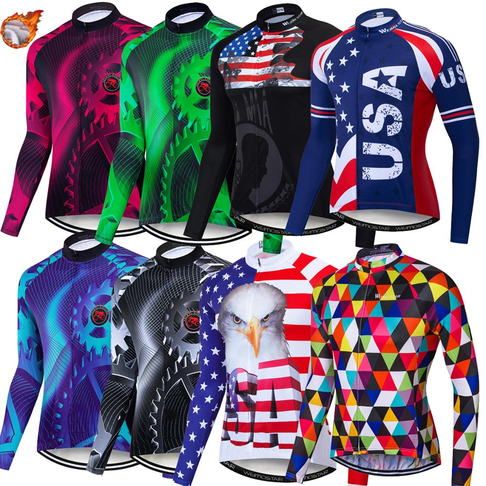 2019 Winter Fleece Cycling Jersey Men Road Bike Cycle Wear Mtb Maillot Ciclismo Long Sleeve Jersey Motocross Shirt Maillot Gear USA