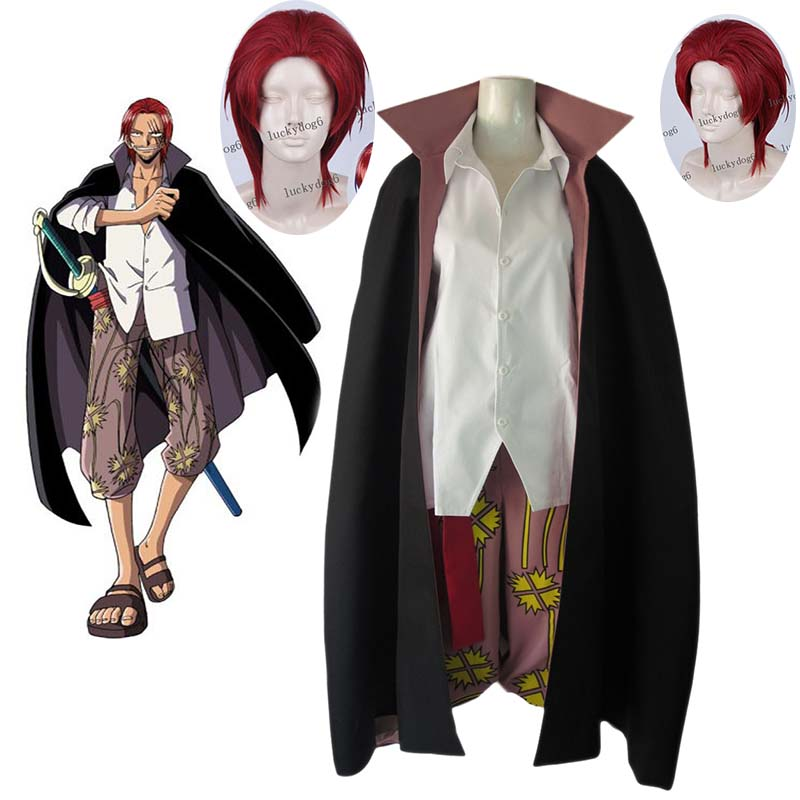 Free Shipping Anime One Piece RedHaired Shanks Two Years Ago Adult men women Cosplay Costume Halloween Costume and wig