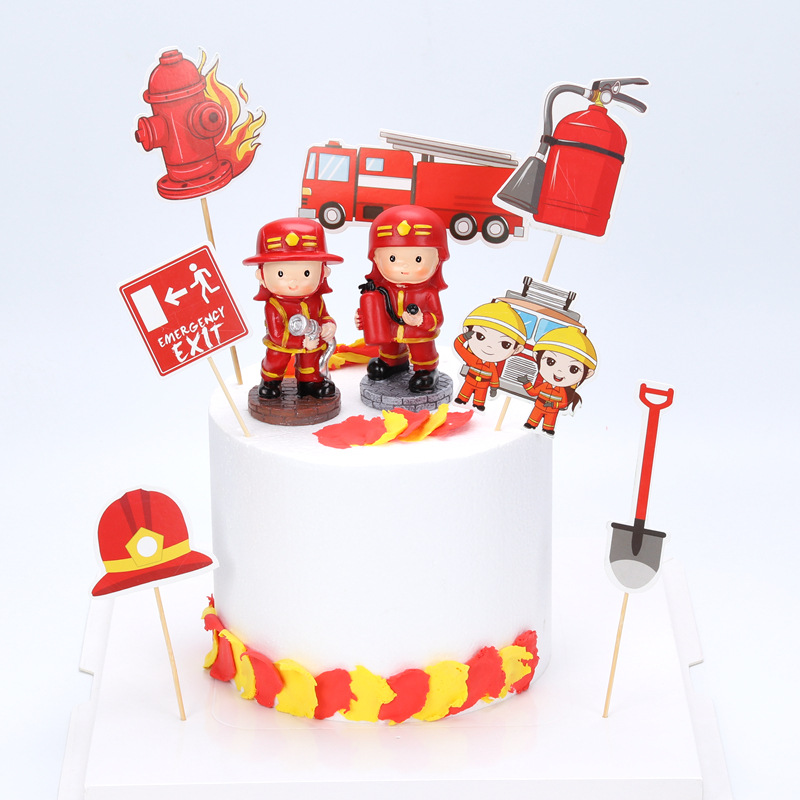 Terrific 7Pcs Fire Hero Baby Shower Kids Birthday Cake Decorating Cake Personalised Birthday Cards Beptaeletsinfo