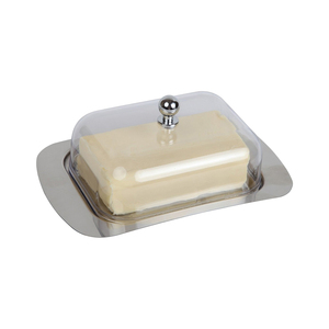 Stainless Steel Butter Dish Box Container Cheese Server Storage Keeper Tray with Transparent Sealing Lid For Cheese cake Board(China)