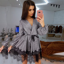 Women Vintage Lace Patchwork Bright Silk Shiny Dress Long SLeeve Sexy V neck Solid Dress 2020 Spring New Fashion Elegant Dress(China)