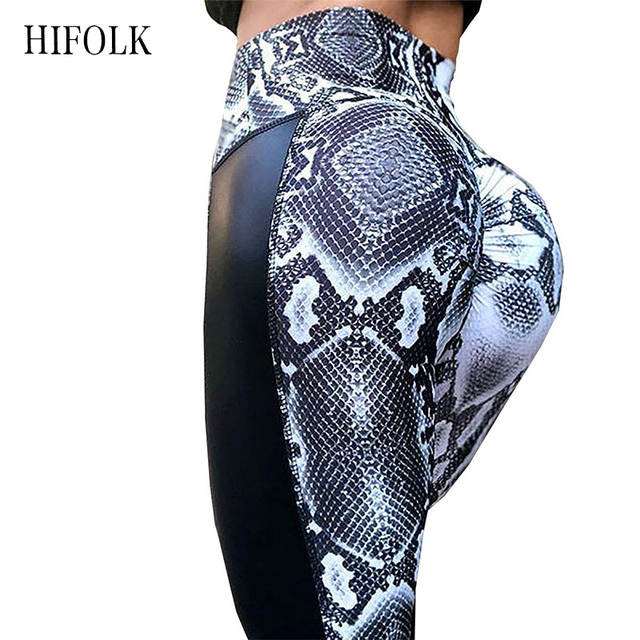 HIFOLK New Women Snake Printed Leggings Black PU Leather Patckwork Workout Leggings Hips Sexy Pleated Push Up Fitness Leggings