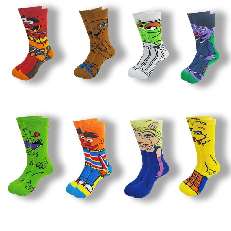Осенне-зимние мужские и женские носки с героями мультфильмов, забавные новые носки средней длины в уличном стиле высокого качества
