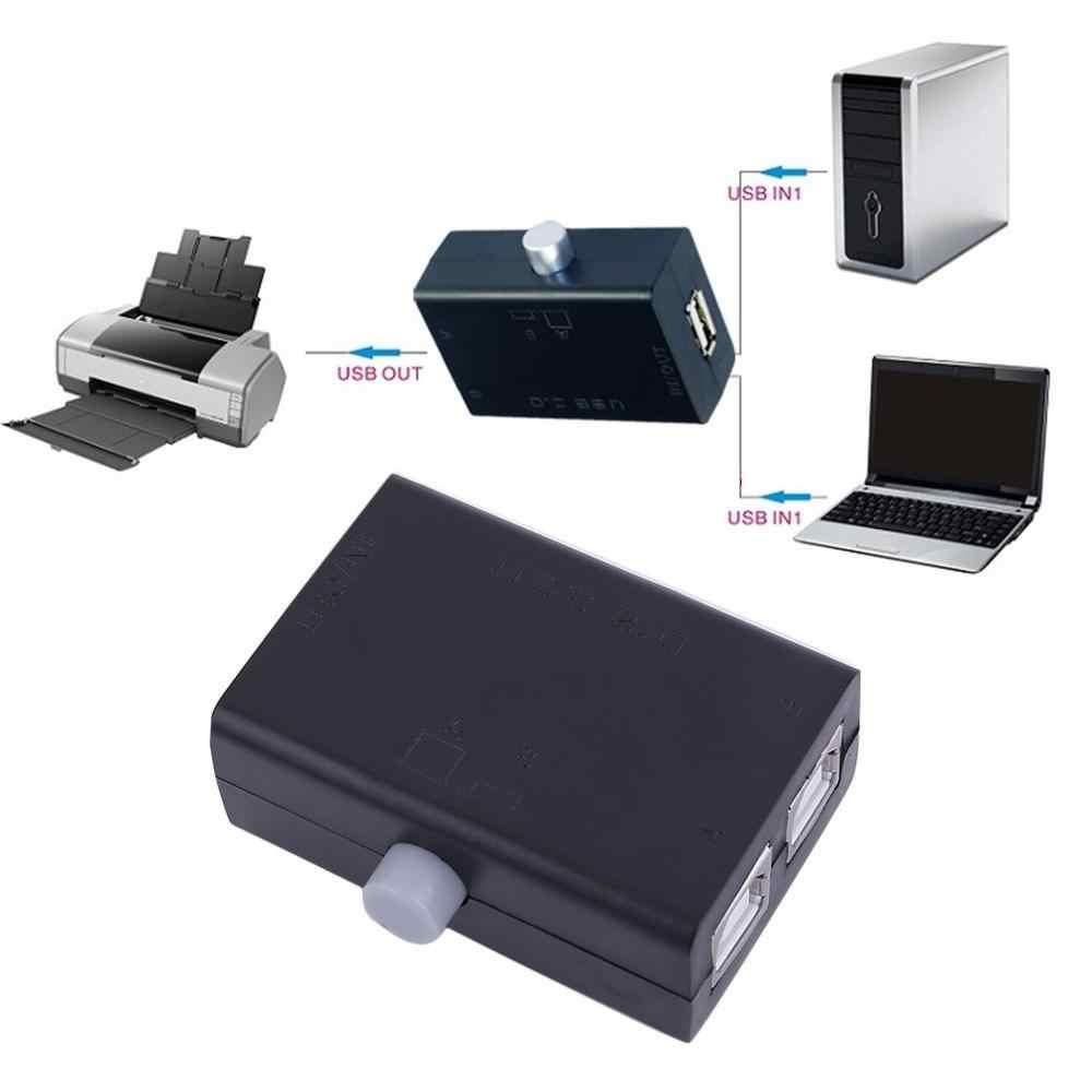 أسود ABS العالمي USB صغير تقاسم حصة التبديل صندوق محور 2 منافذ جهاز كمبيوتر شخصي الماسح الضوئي الطابعة دليل تعزيز كبير