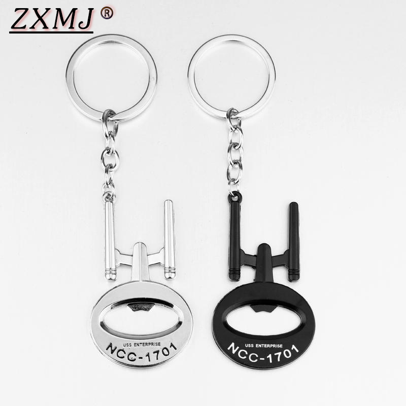 ZXMJ Bottle Opener Spacecraft Keychain keyring 2 Colors <font><b>NCC</b></font> <font><b>1701</b></font> Keychains metal Silver Black keyring For Jewelry Gift image