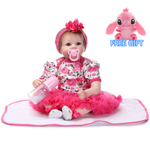 55cm Newborn Reborn Baby Dolls and doll clothes Silicone Cute Soft Babies playmate Doll gif