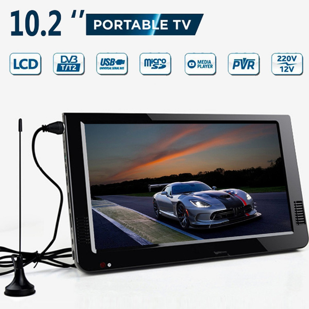 Outdoor 10.2 Inch 12V Portable Digital Analog Television DVB-T / DVB-T2 TFT LED HD TV Support TF Card USB Audio Car Television image