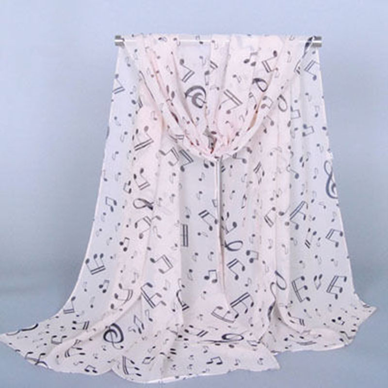 Female Women Lady Fashion Musical Note White Chiffon Printed Neck Scarf Wrap Shawl Accessories