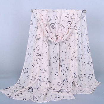 Female Women Lady Fashion Musical Note White Chiffon Printed Neck Scarf Wrap Shawl Accessories