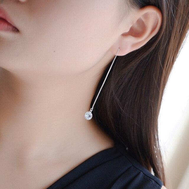 Длинные женские серебряные серьги кисточки с фианитами