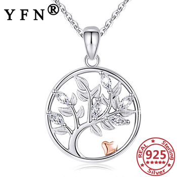 YFN 925 Sterling Silver Life of Tree Pendant Necklaces Silver Chain Hollow Cubic Zircon Woman Graduation Gift Mother's Day Gifts