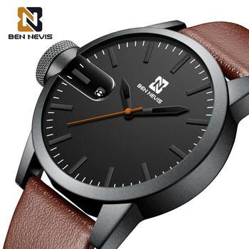цена на BEN NEVIS 2020 Big Dial Men's Quartz Watch with Brown Genuine Leather Band Calendar Waterproof Alloy Case Relogio Masculino
