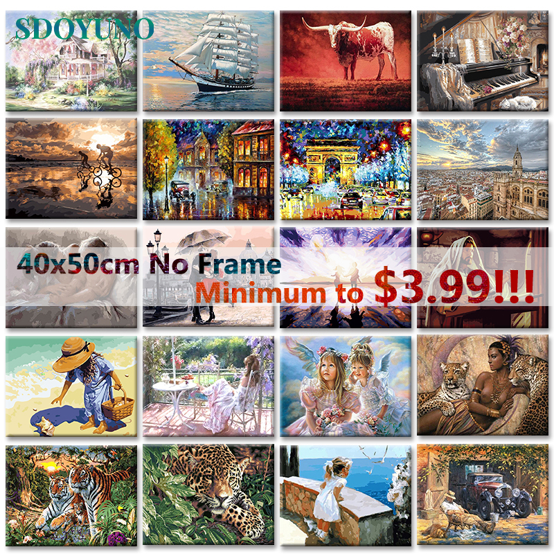 SDOYUNO Painting By Numbers 40x50cm Frameless Digital Painitng On Canvas Pictures By Numbers DIY Figure Animals Landscape