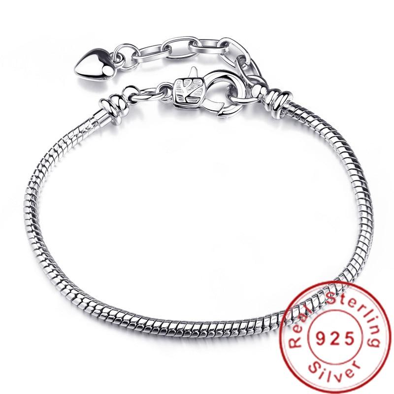 Rhodium Silver Imitation Safety Chain CZ Bead for European Charm Bracelet