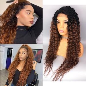 Image 4 - 흑인 여성을위한 곱슬 머리 인간의 머리 가발 150% 밀도 옹 브르 브라운가 발 레이스 정면 13*4 곱슬 레이스 프런트가 발 브라질 머리카락