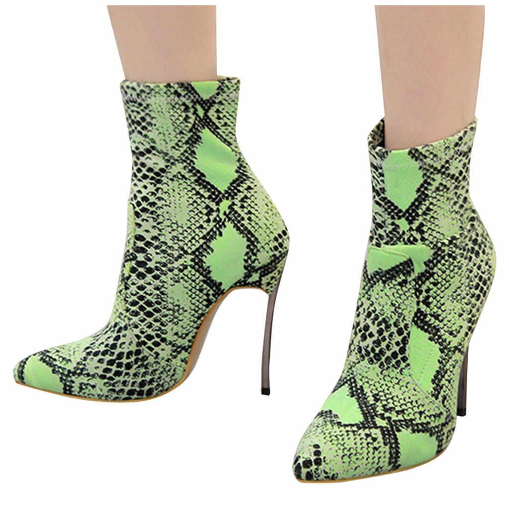 YOUYEDIAN 2020 kadın bayanlar Stiletto topuklu yılan etkisi rahat ayakkabılar kısa çizmeler kadın ayakkabıları dantel-up kış ayakkabı kadın #10