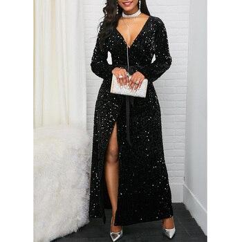 Mirsicas Elegant Long Sleeve Front Slit Belted Sequin Dress