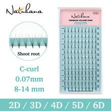 NATUHANA 2D 3D 4D 5D 6D Short Stem False Lashes Premade Russian Volume Fans Faux Mink Premade Eyelash Extensions Makeup Cilios