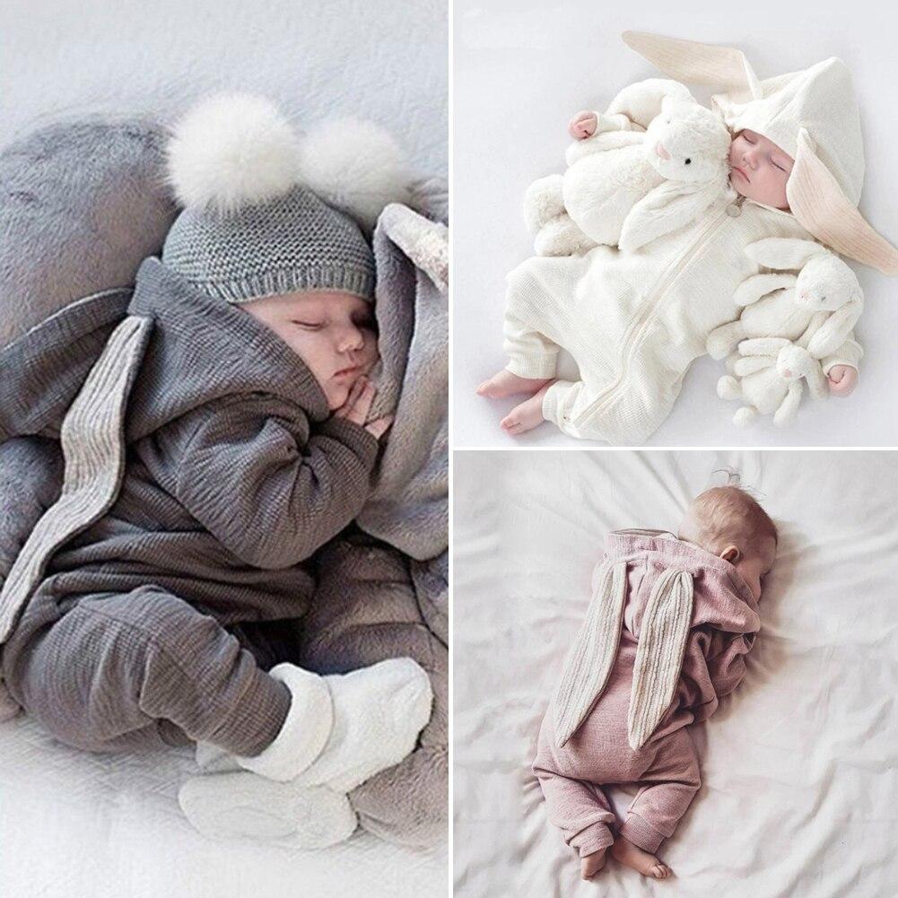 UK Infant Baby Boy Girl 0-24M Warm Clothes Rabbit Ears Romper Jumpsuit Bodysuit Outfit
