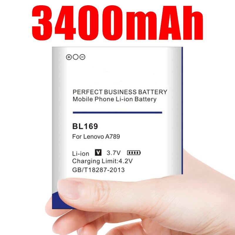 Batterie de BL-169 3400mAh BL169 pour Lenovo A789 P70 S560 P70 P800 batterie d'accumulateur de téléphone portable de remplacement