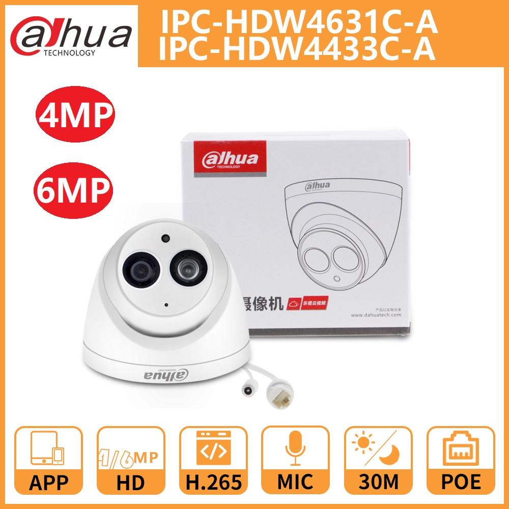 Dahua Network IP Camera DH IPC-HDW4433C-A 4631C-A IR30m Starlight Camera Built-in Mic Network POE Onvif Replace IPC-HDW4431C-A