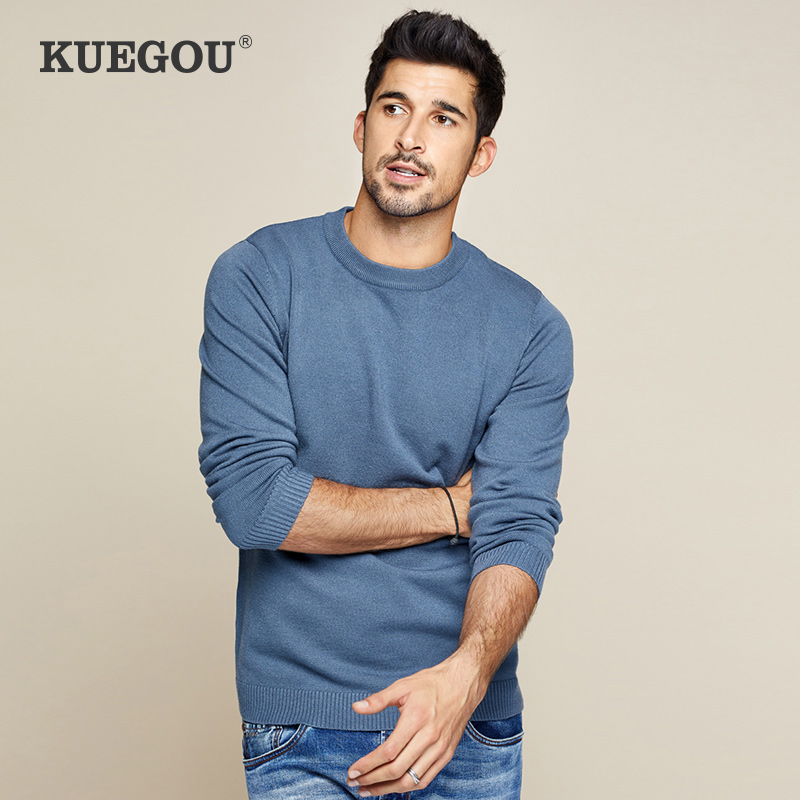 KUEGOU Brang Men Sweater Pure Color Round Collar Pullovers  Autumn  Winter  Fashionable Joker  Keep Warm XZ-8922
