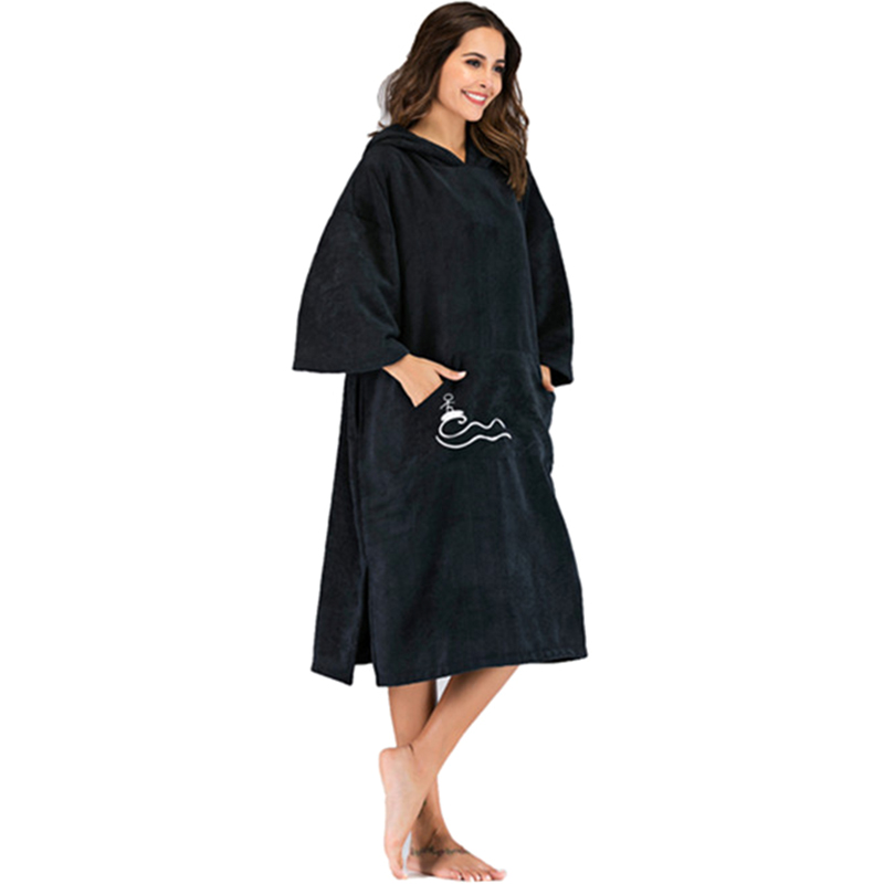 New Beach Mood Solid Color Changing Robe Surf Poncho Towel Wet Hooded Cloak Beach Dress for Adult 110X75Cm with Embroidery