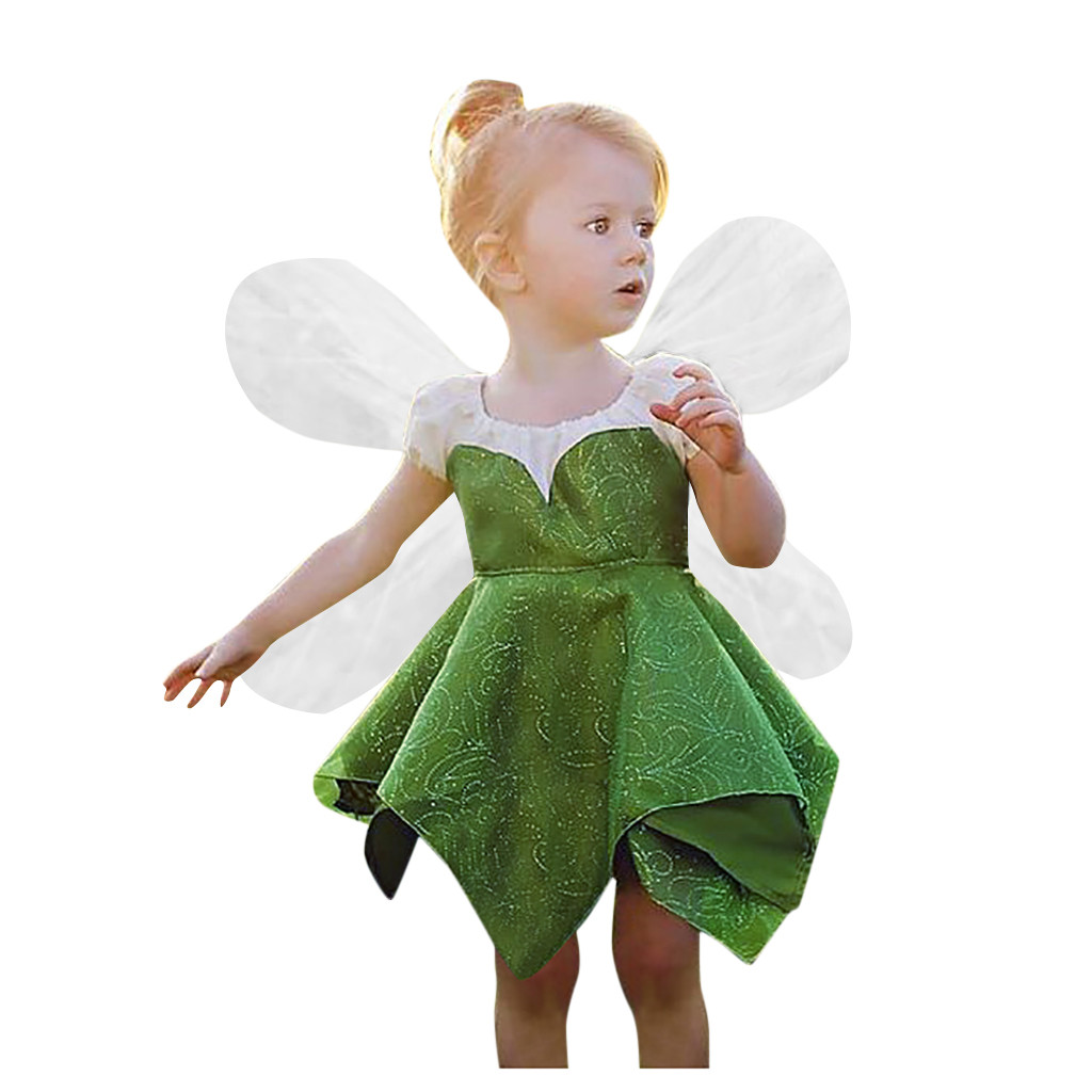 Toddler Kids Baby Girls Lace Tulle Paillette Princess Dress Have Wings Outfit UK