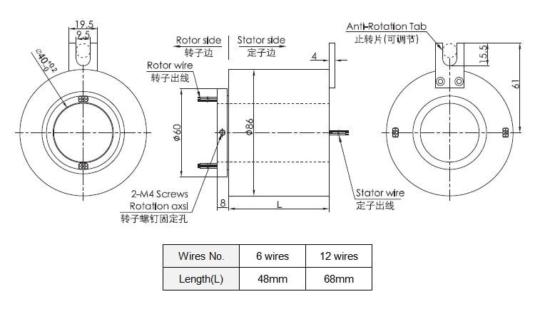 anel deslizante 6 fios fios cada 10A com OD 86 12mm