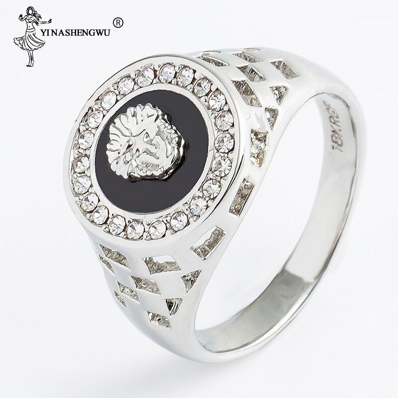 Crystal Enamel Lion Head Rings for Men Hip Hop Gold Alloy Hollow Wide Hollow Finger Ring