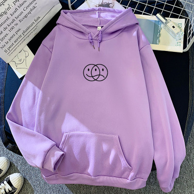 Korean Streetwear Sweatshirt Men Women Casual Pullover Hip Hop Long Sleeve Smile Sad Face Line Print Sport swear Tops Hoodies 16