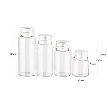 2 sztuk 7 8 12 15 20 25ml szklane butelki śruba góry puste butelki z życzeniami słoiki aluminiowy kapsel Seal słoiki Food Grade butelki słoiki do przechowywania tanie i dobre opinie NoEnName_Null CHINA Miłość Kolorowe glazury