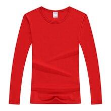 Printemps top T Shirts Coton Vogue T Shirts Automne Manches Longues Coton Lycra T shirt Mince Couple T Shirts décontracté Solide Dame T shirt hauts