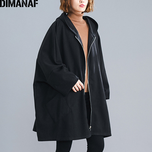 Image 3 - DIMANAF Oversize Women Jacket Coat Autumn Winter Outerwear Zipper Cardigan Vintage Batwing Sleeve Loose Plus Size Hooded Clothes
