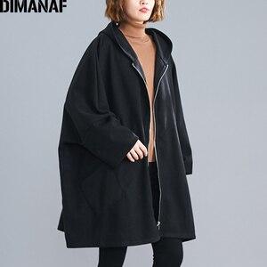 Image 3 - DIMANAF chaqueta de gran tamaño para mujer abrigo Otoño Invierno ropa de abrigo con cremallera Rebeca Vintage manga de murciélago suelta talla grande ropa con capucha