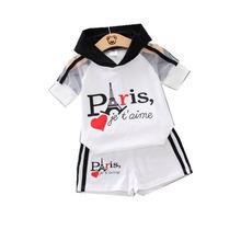 2 шт/компл Детская футболка с капюшоном и шорты надписью